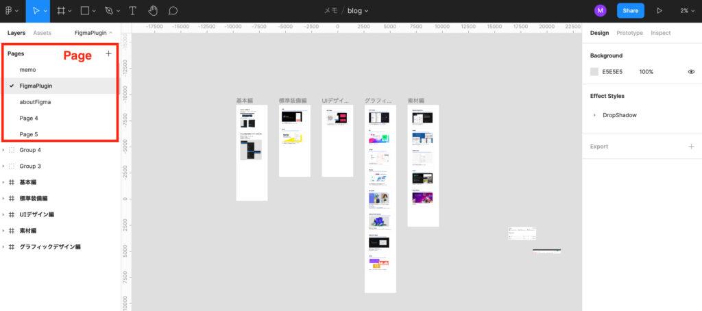 Figmaのページ